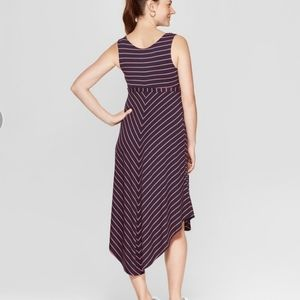 Chevron stripe summer maternity dress pink Navy XS
